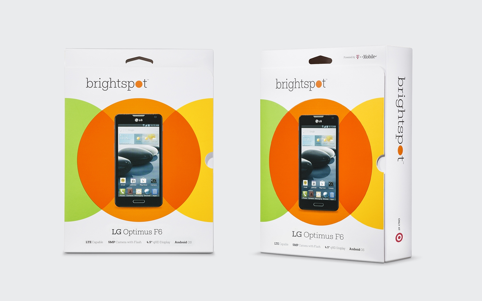 Brightspot logo and packaging design for Target and their new line of phones