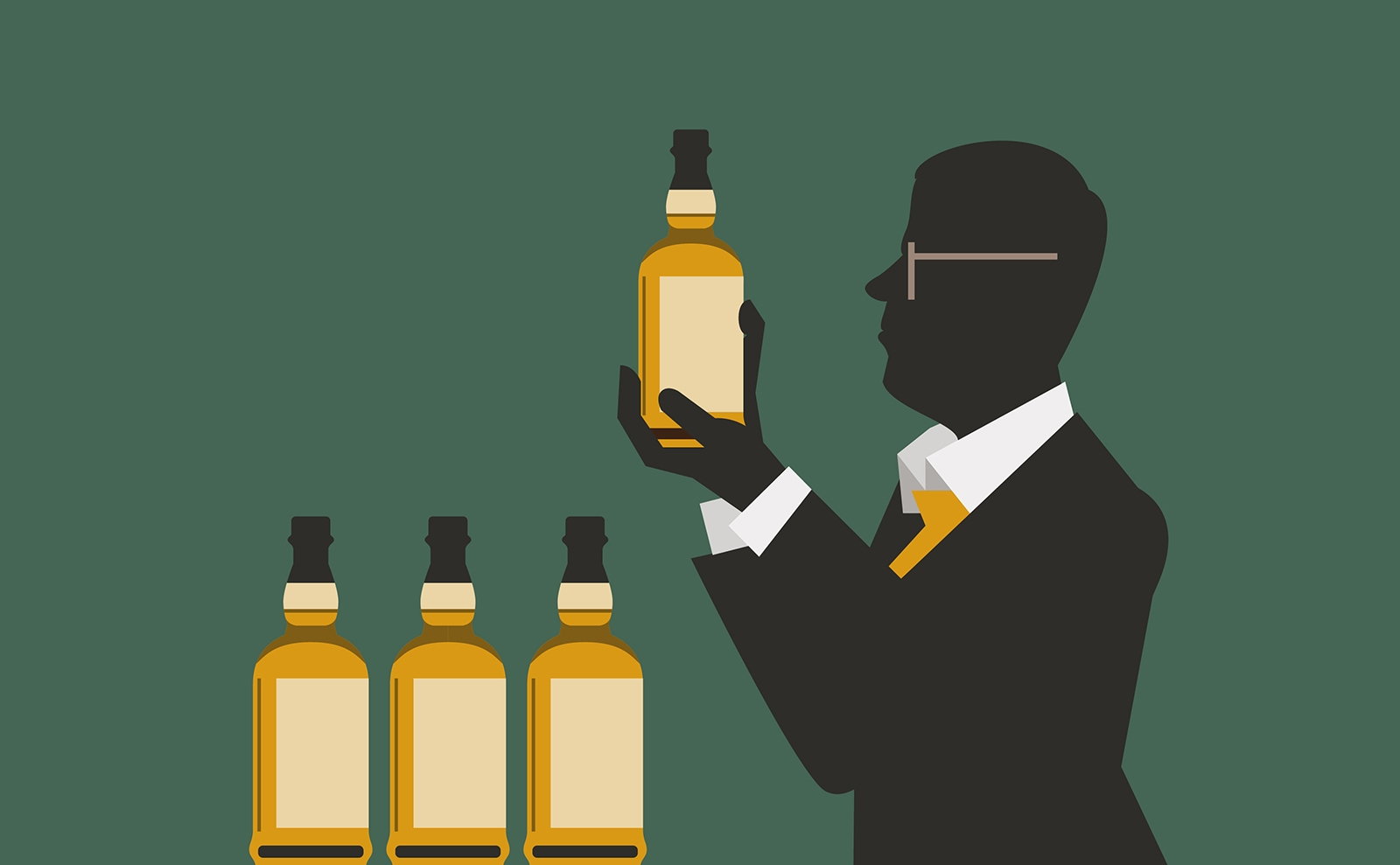Balvenie Five Crafts illustration detail of glasses and man