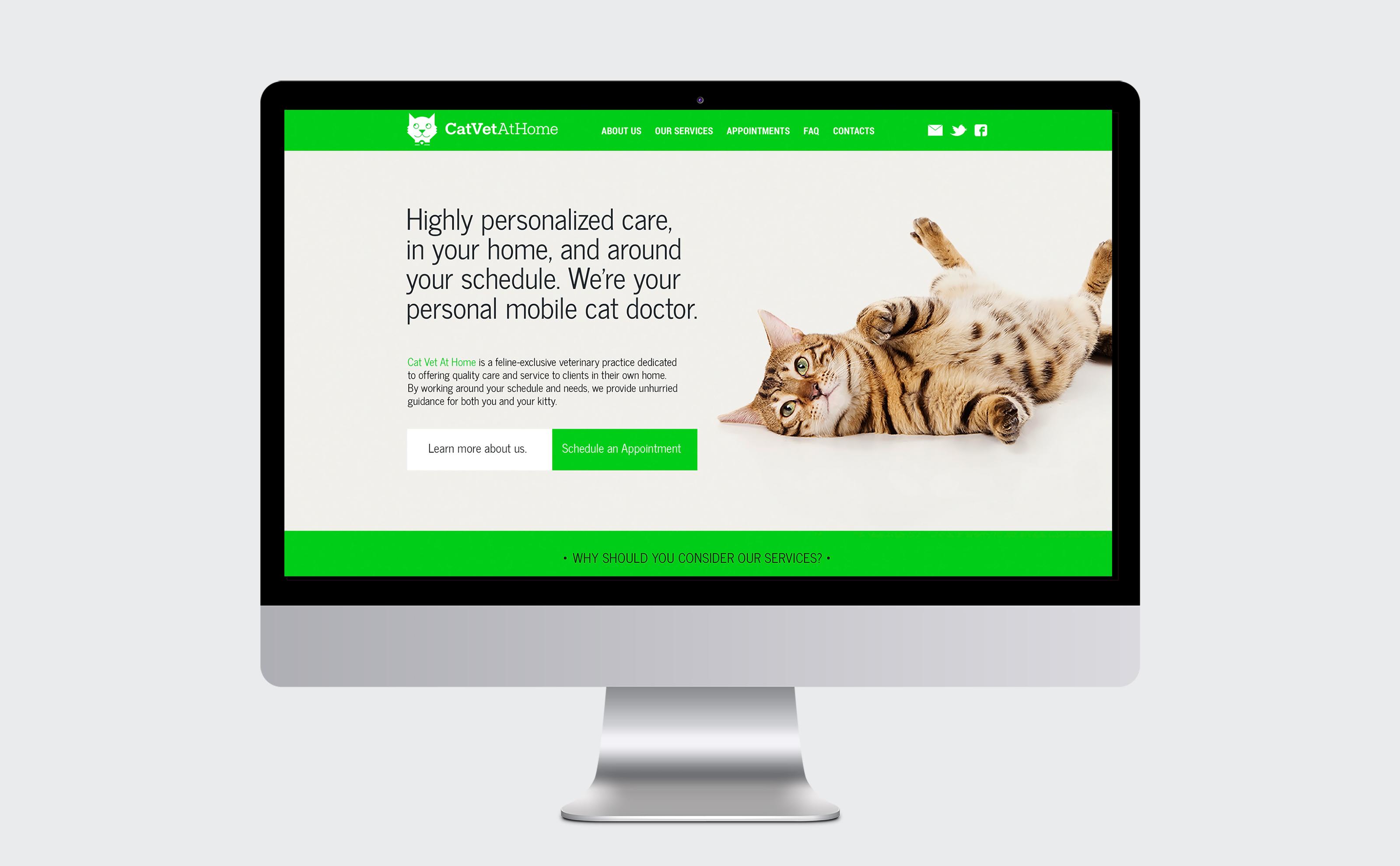Cat Vet At Home website landing page