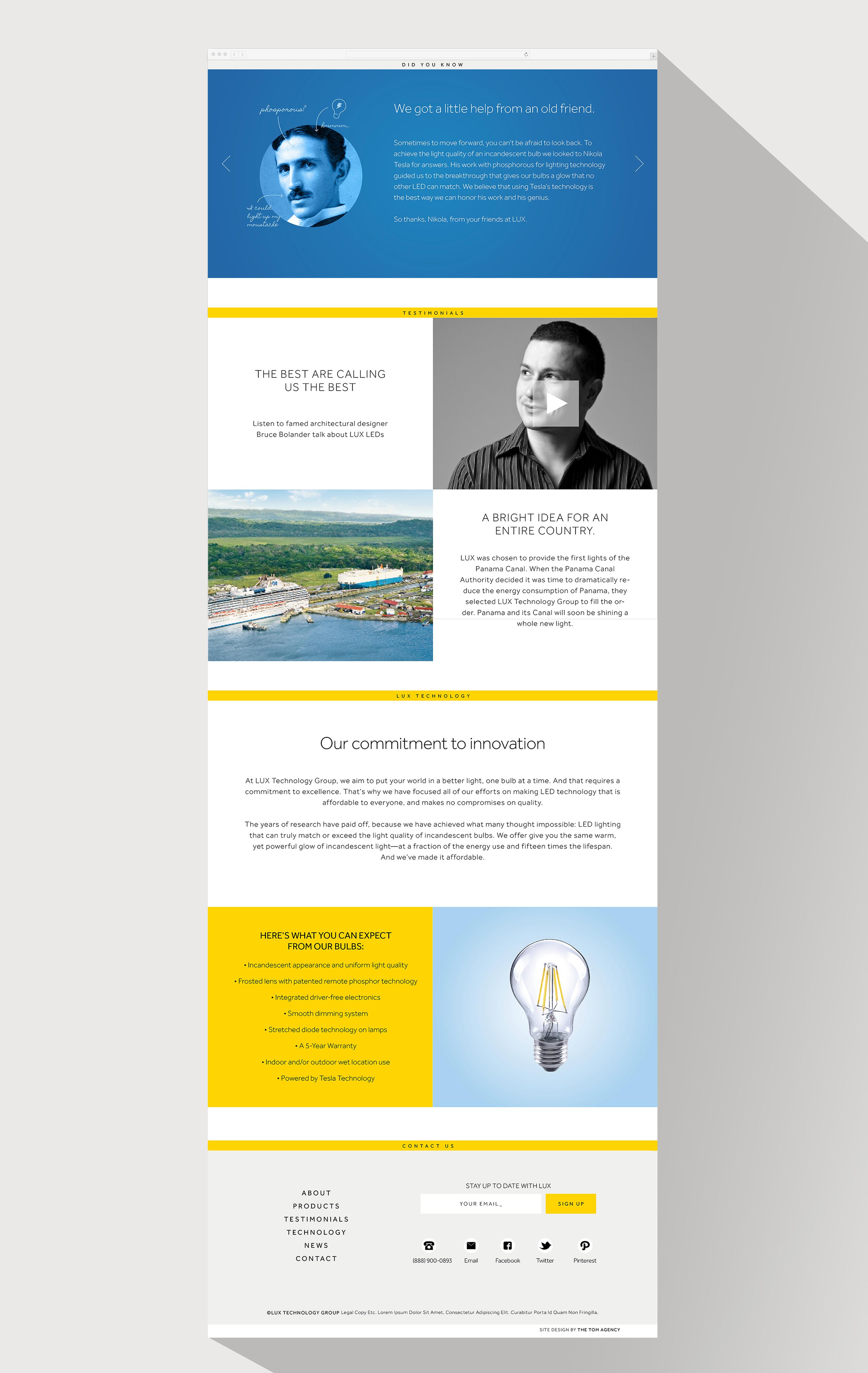 LUX lightbulbs website design