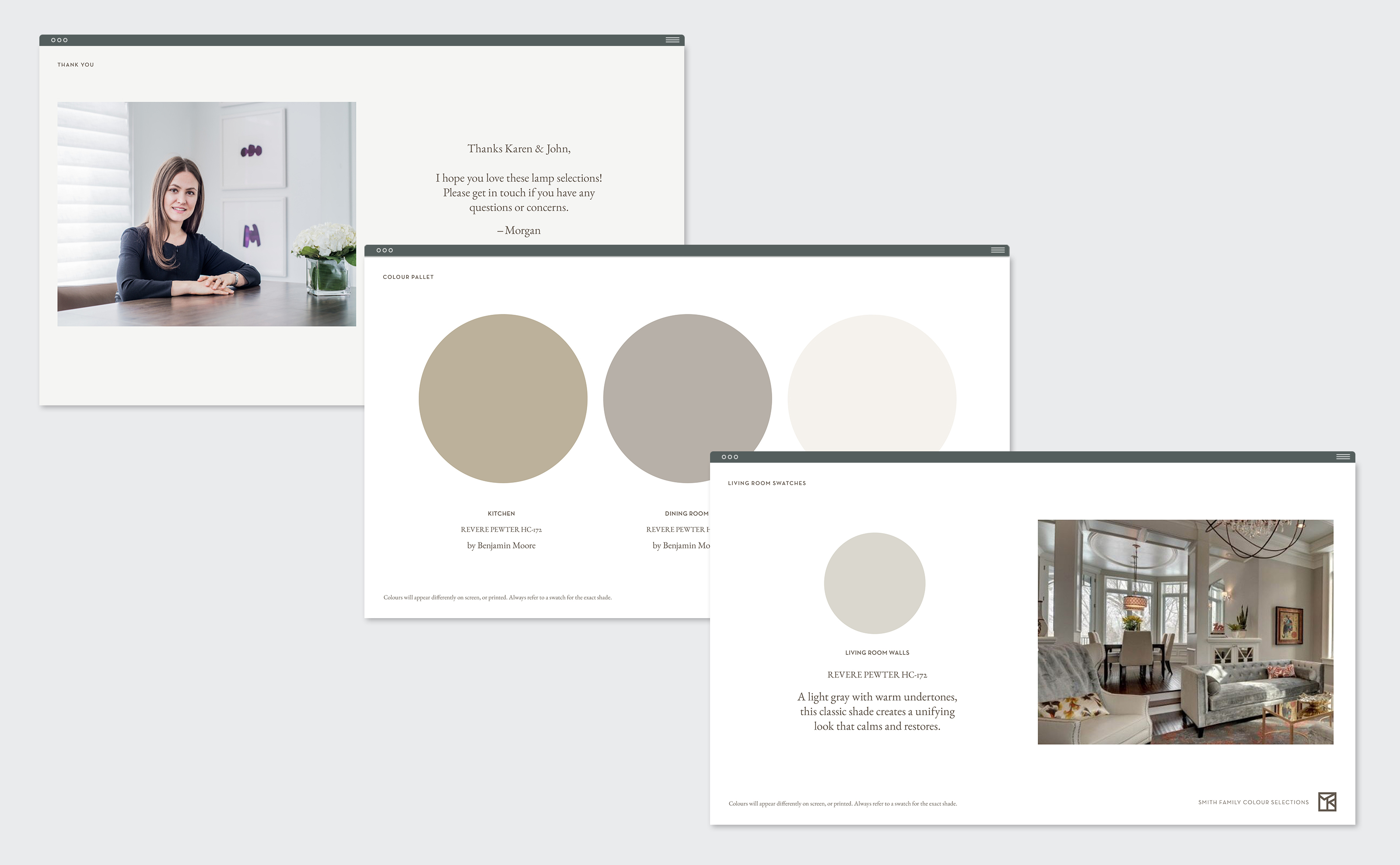 Morgan Kelly Interiors presentation design pages