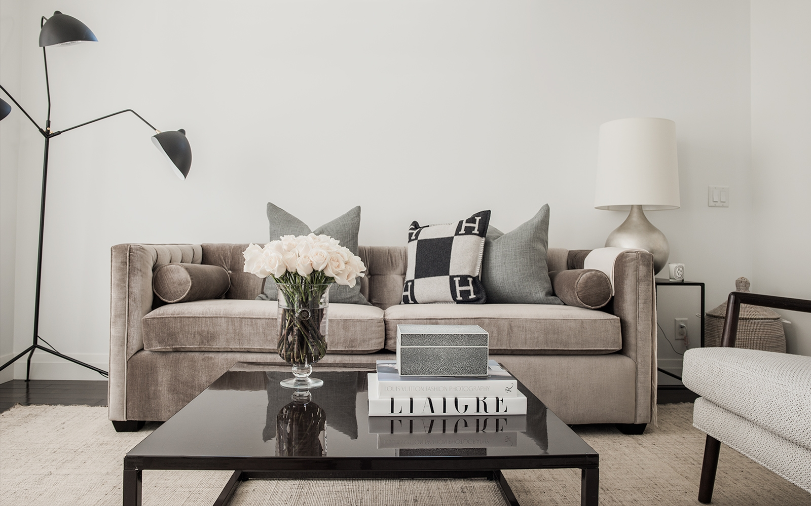 Morgan Kelly interiors living room couch and hermes cushion