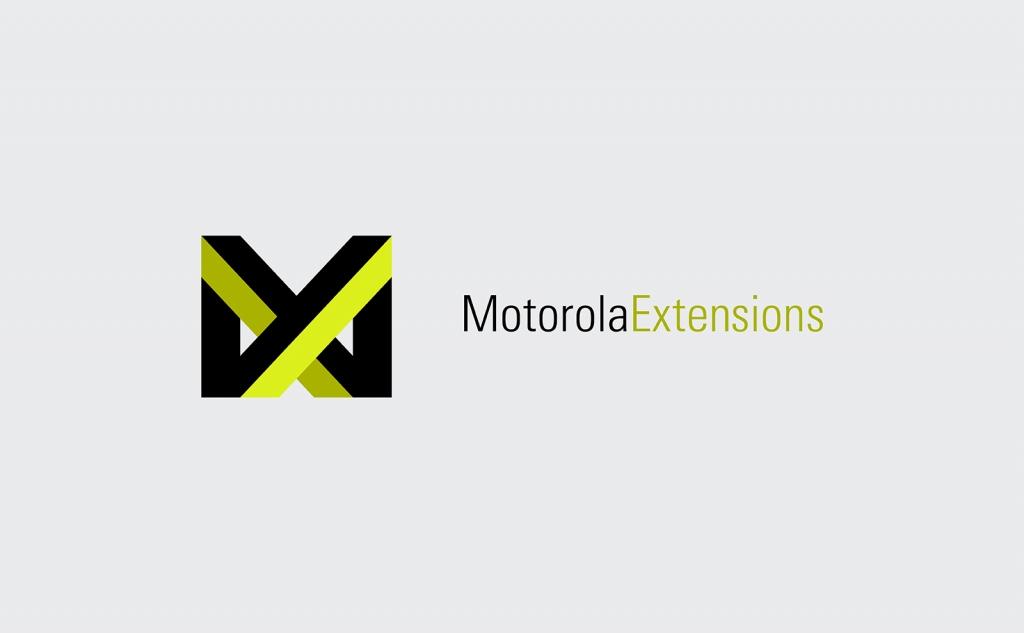 Motorola Extensions logo design lockup