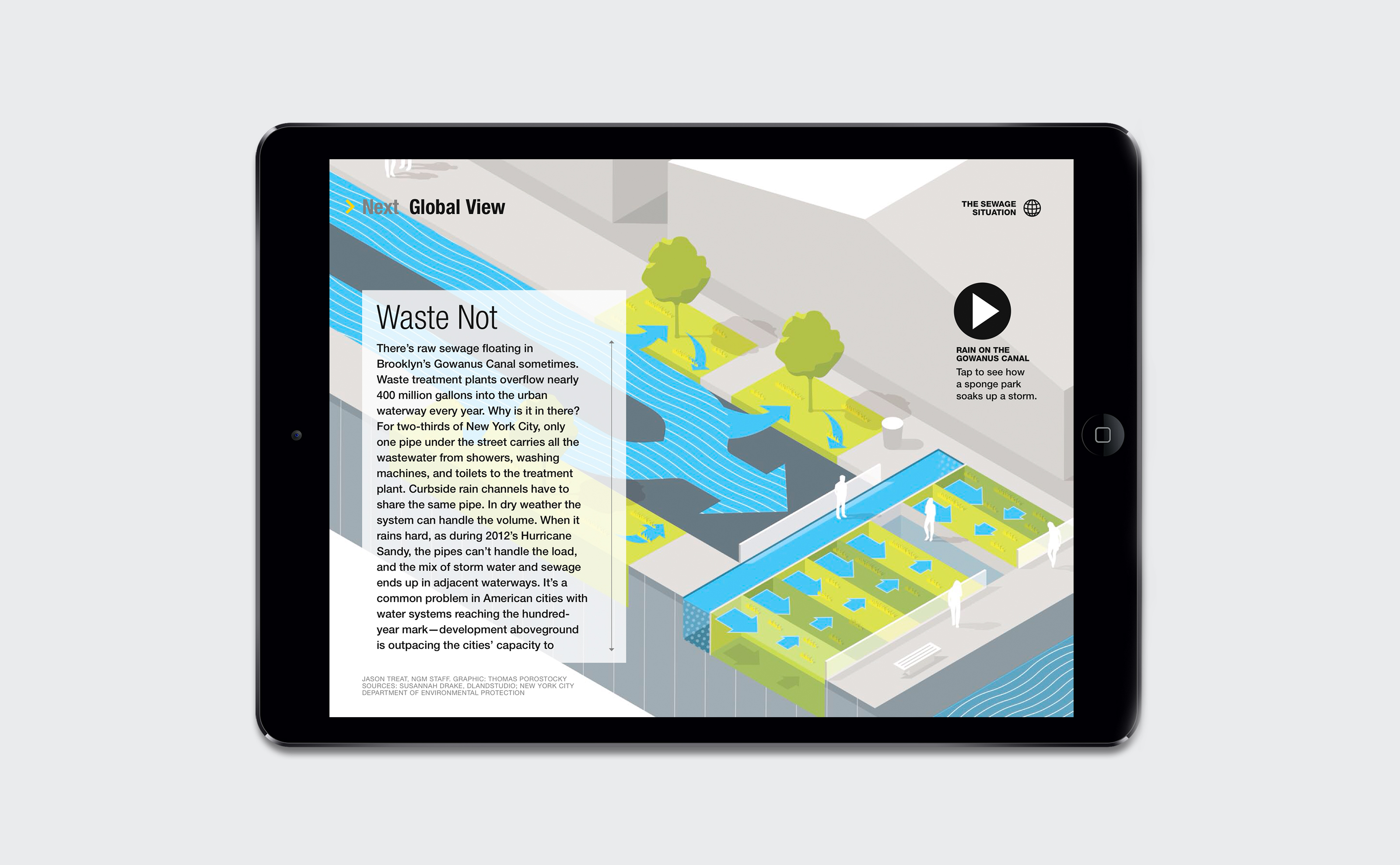 National Geographic Gowanus Canal Waste Not vector illustration and animation