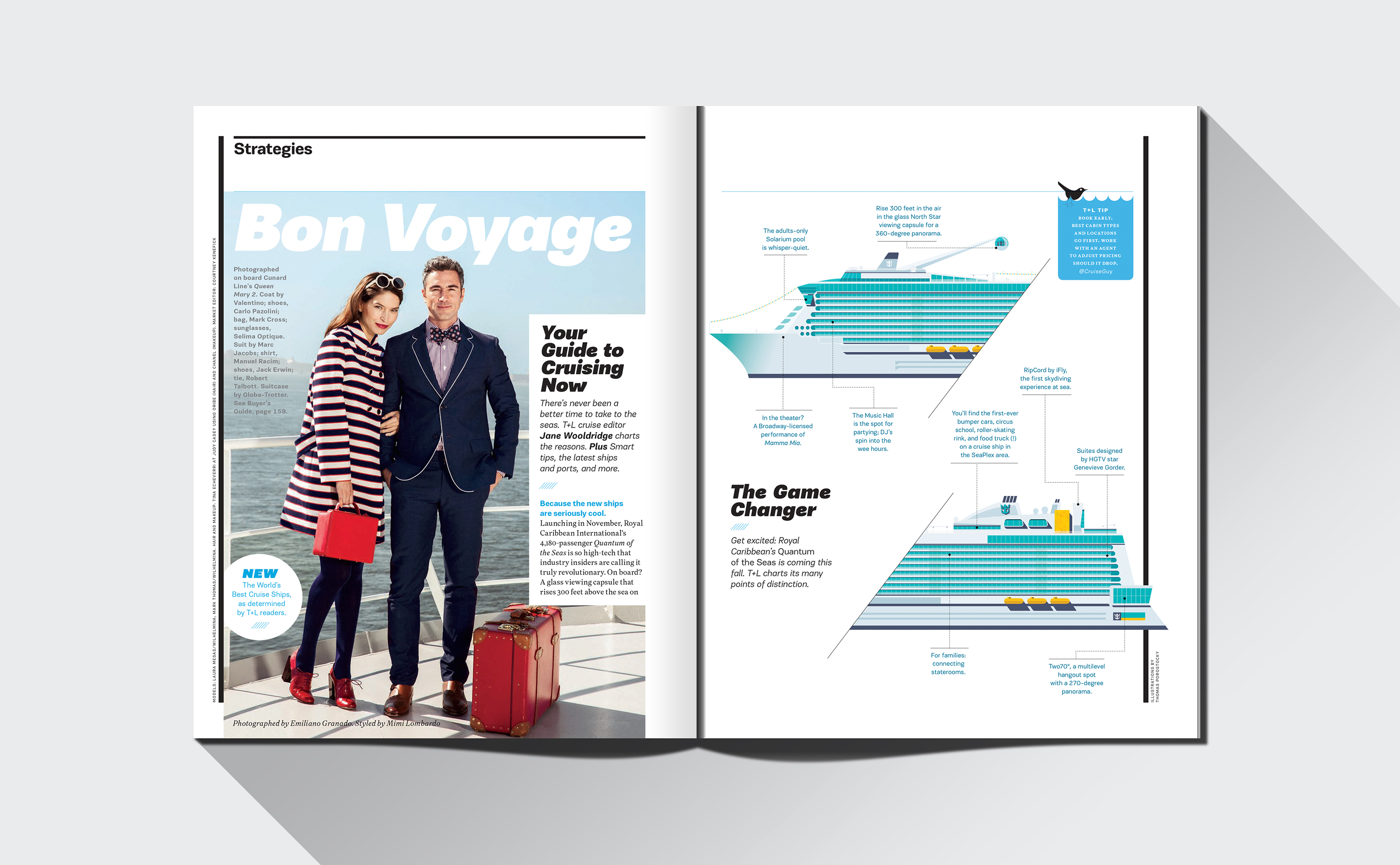 Travel and Leisure vector illustration of Quantum of the Seas cruise ship with magazine layout