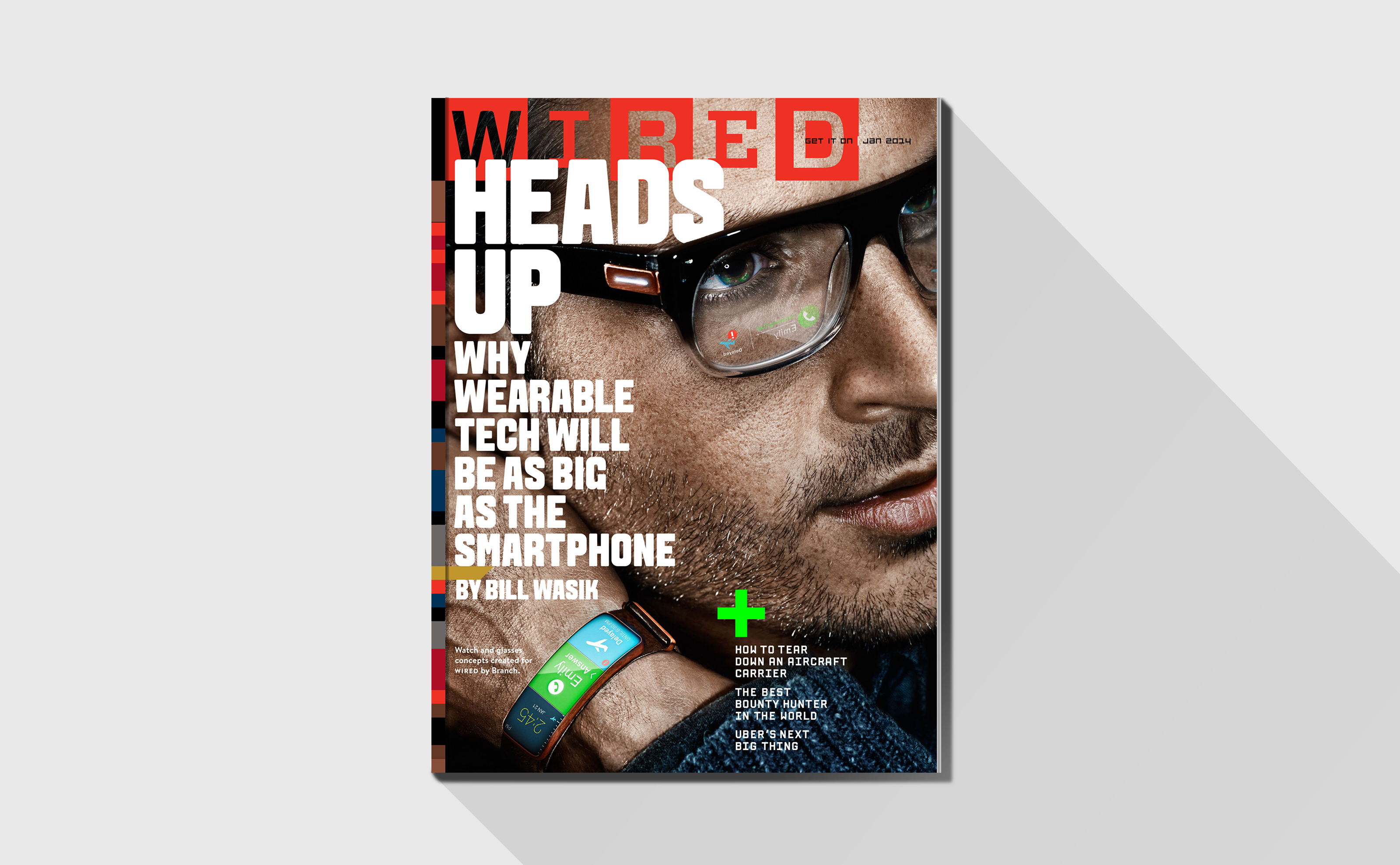 Wired Heads up Cover with smart watch illustration and design