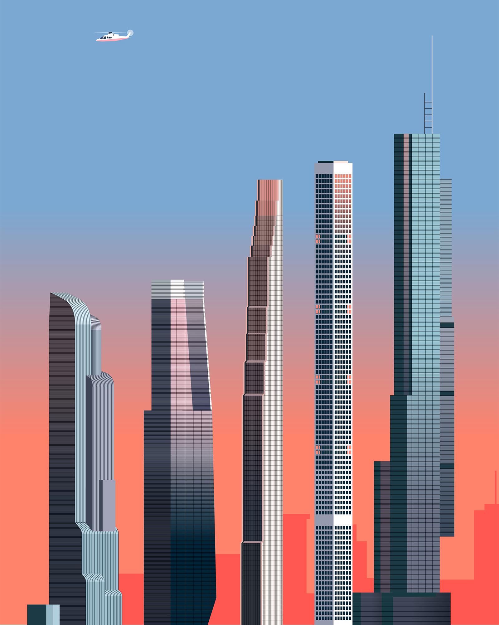 New York skyscraper vector illustration for Wired