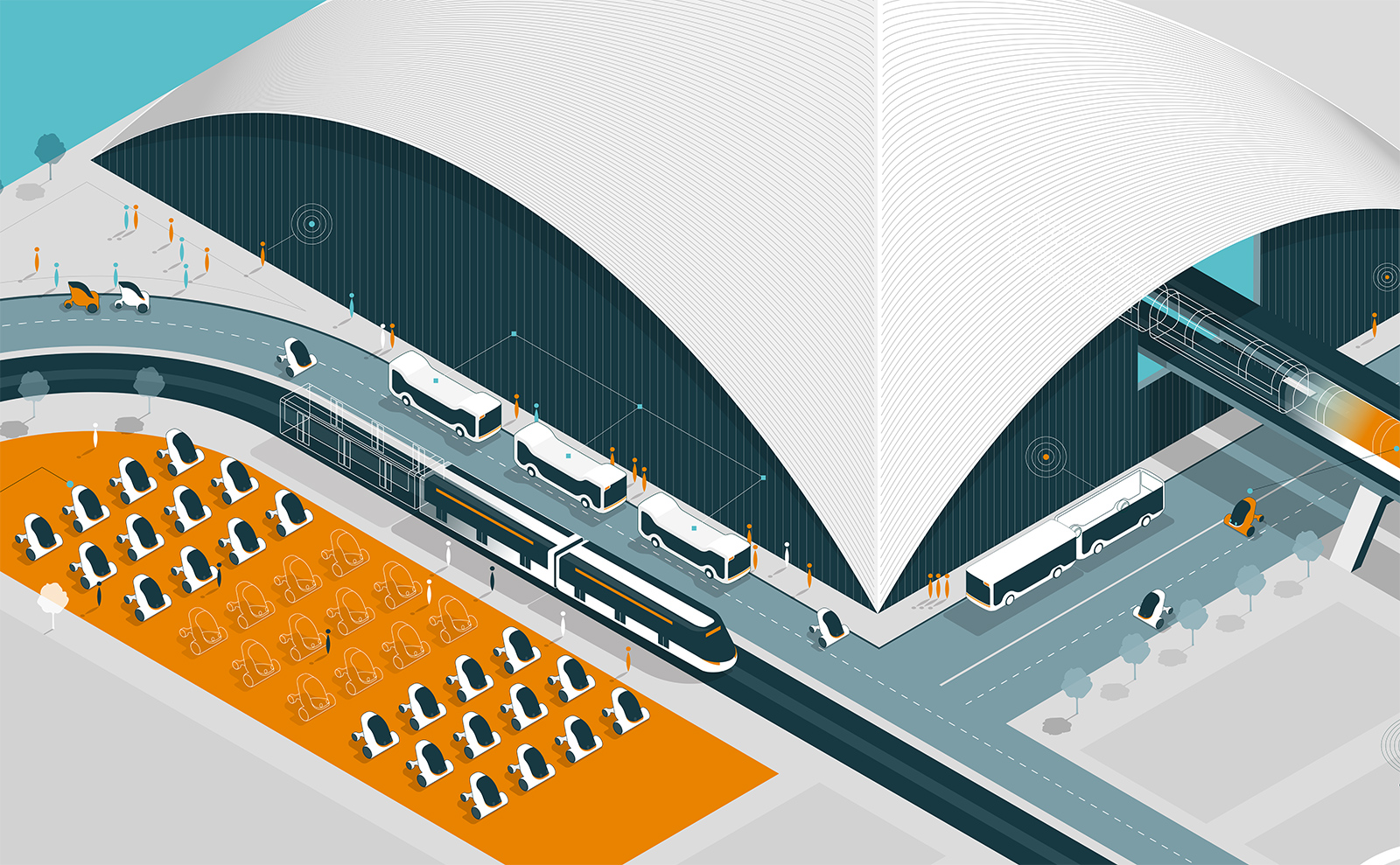 Wired illustration by Thomas Porostocky of The TOM Agency of the future transportation hub