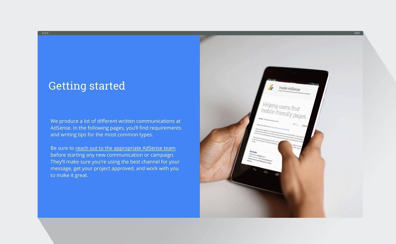 Google AdSense brand style guide design presentation interior