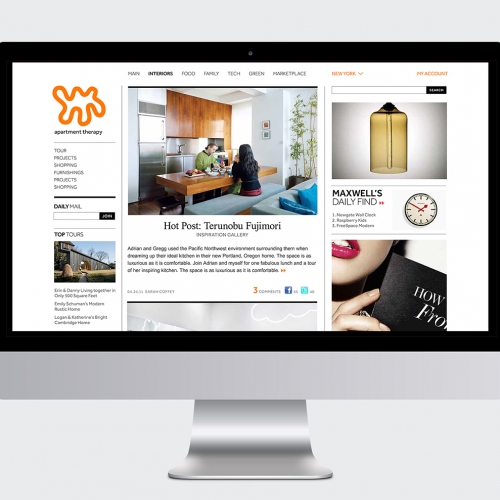 A website design for Apartment Therapy.