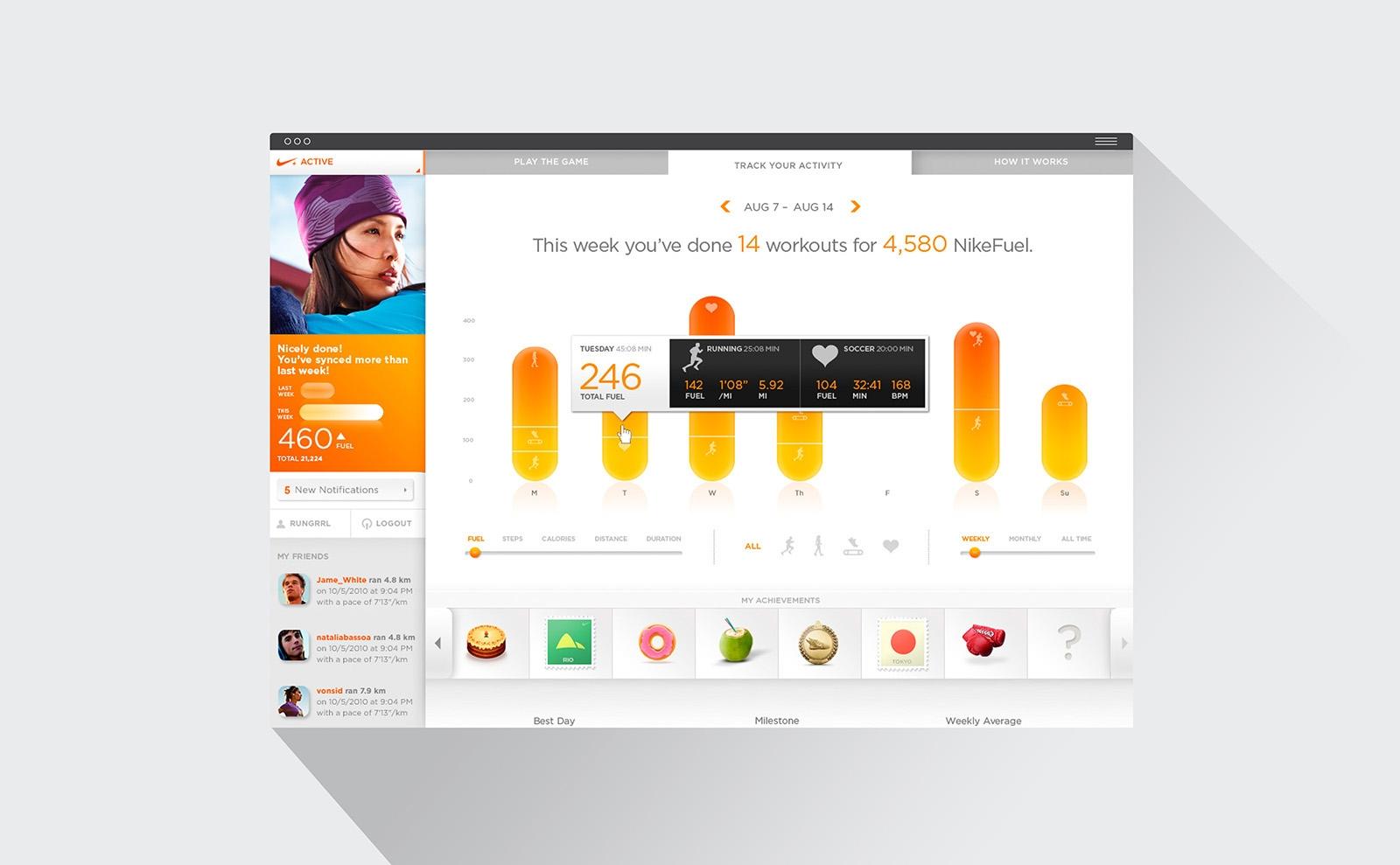 NikeFuel interface design detail
