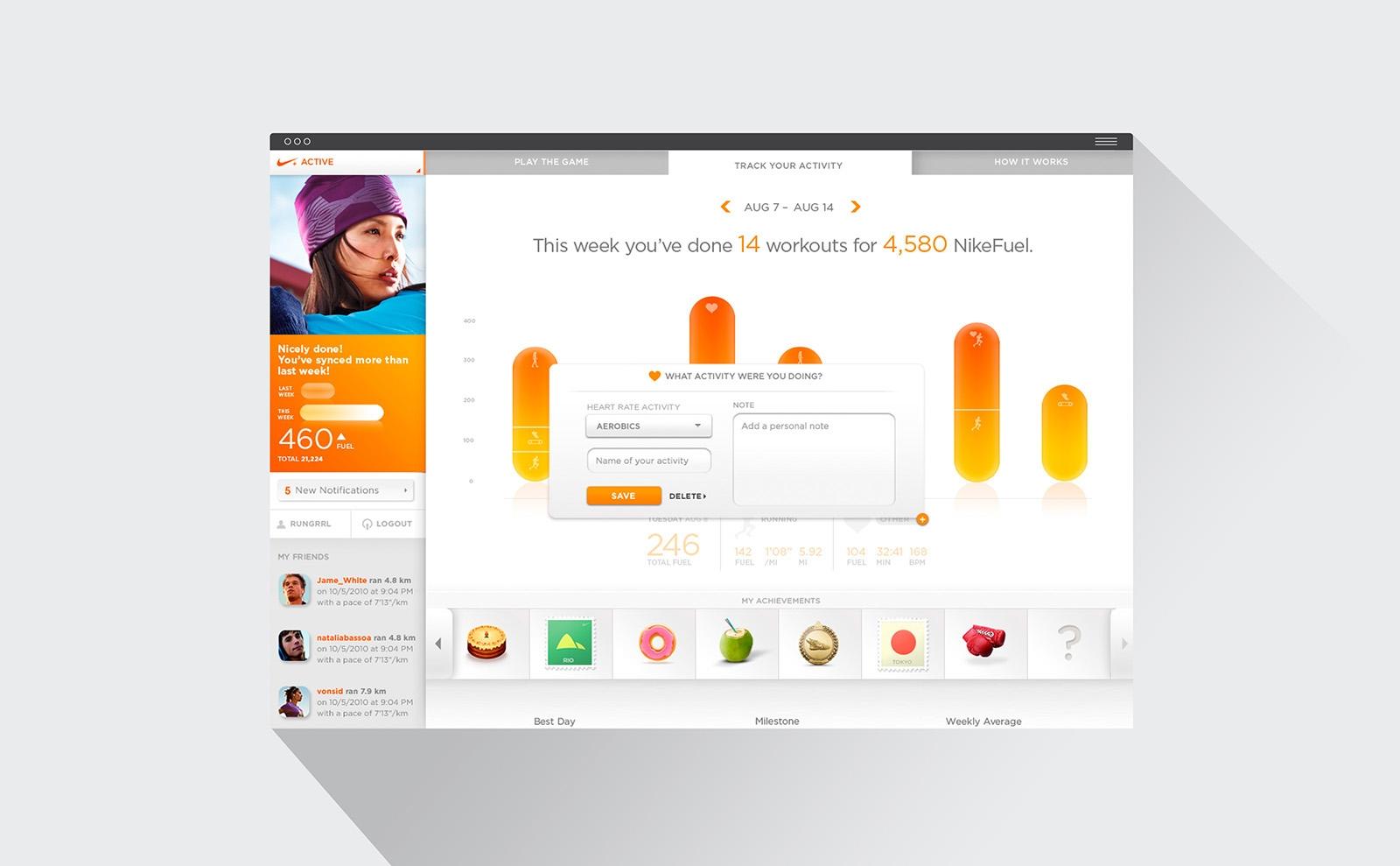 NikeFuel interface design