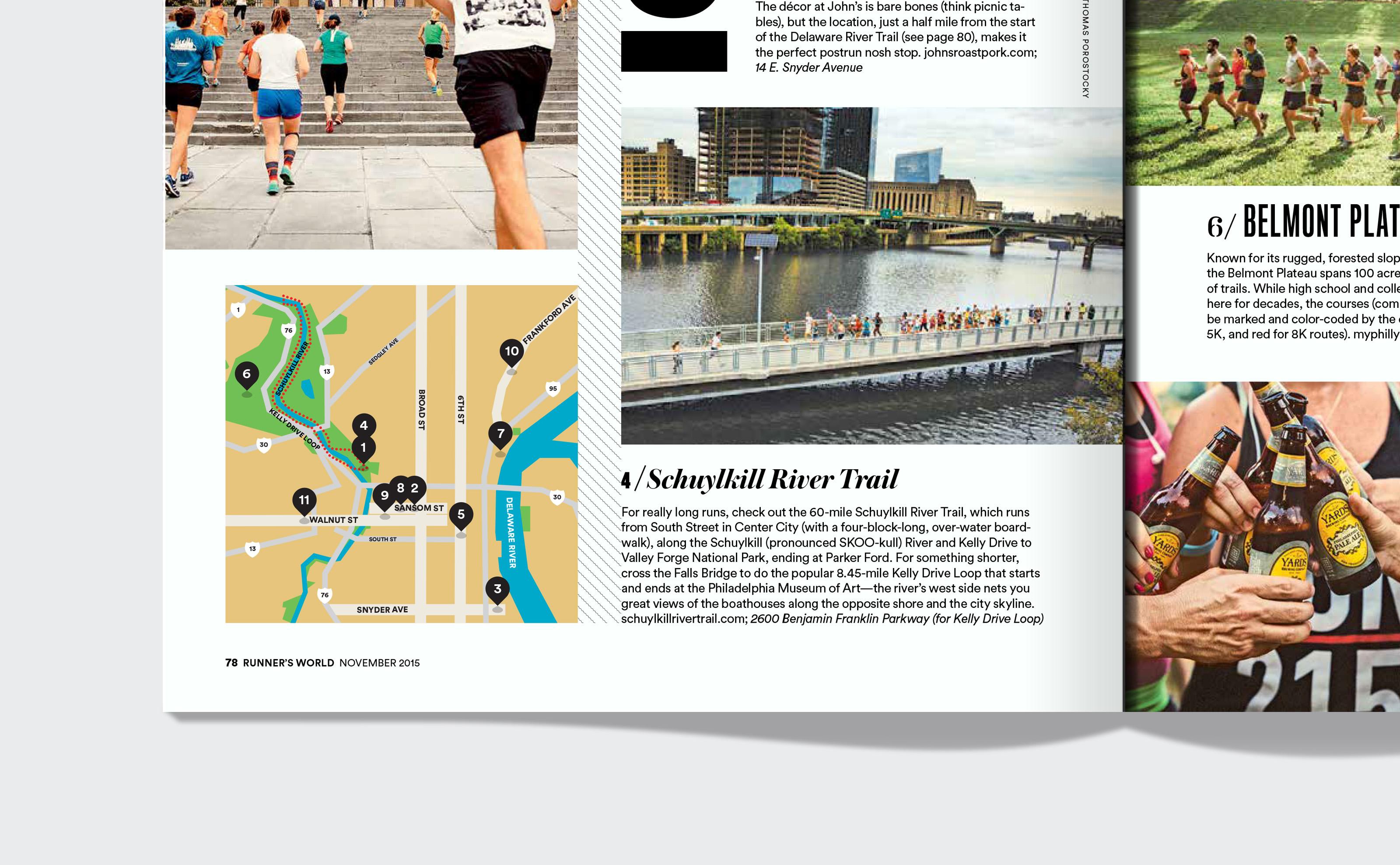 Runners World map of Philadelphia detail schuykill river tail