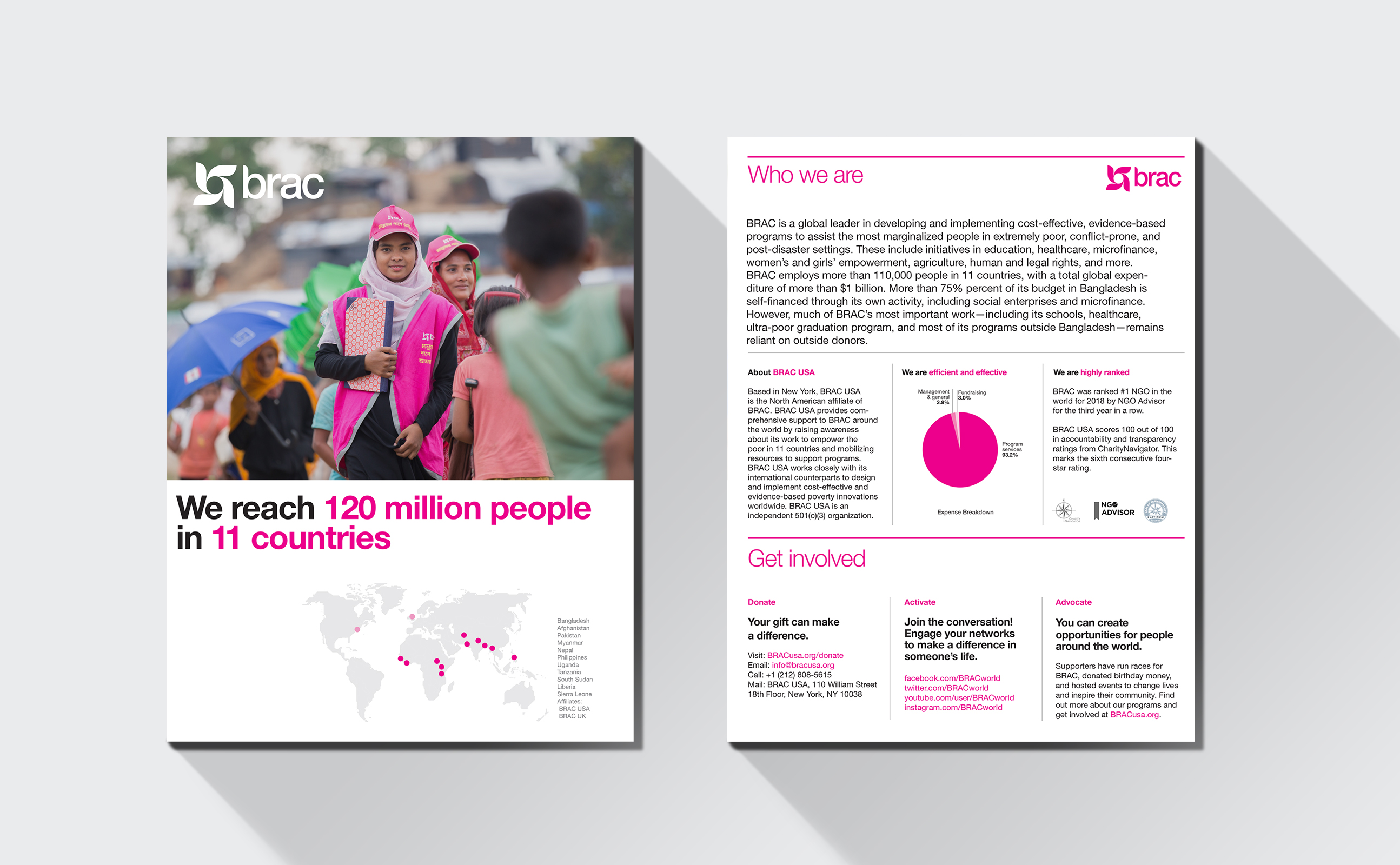 BRAC annual report spread and map