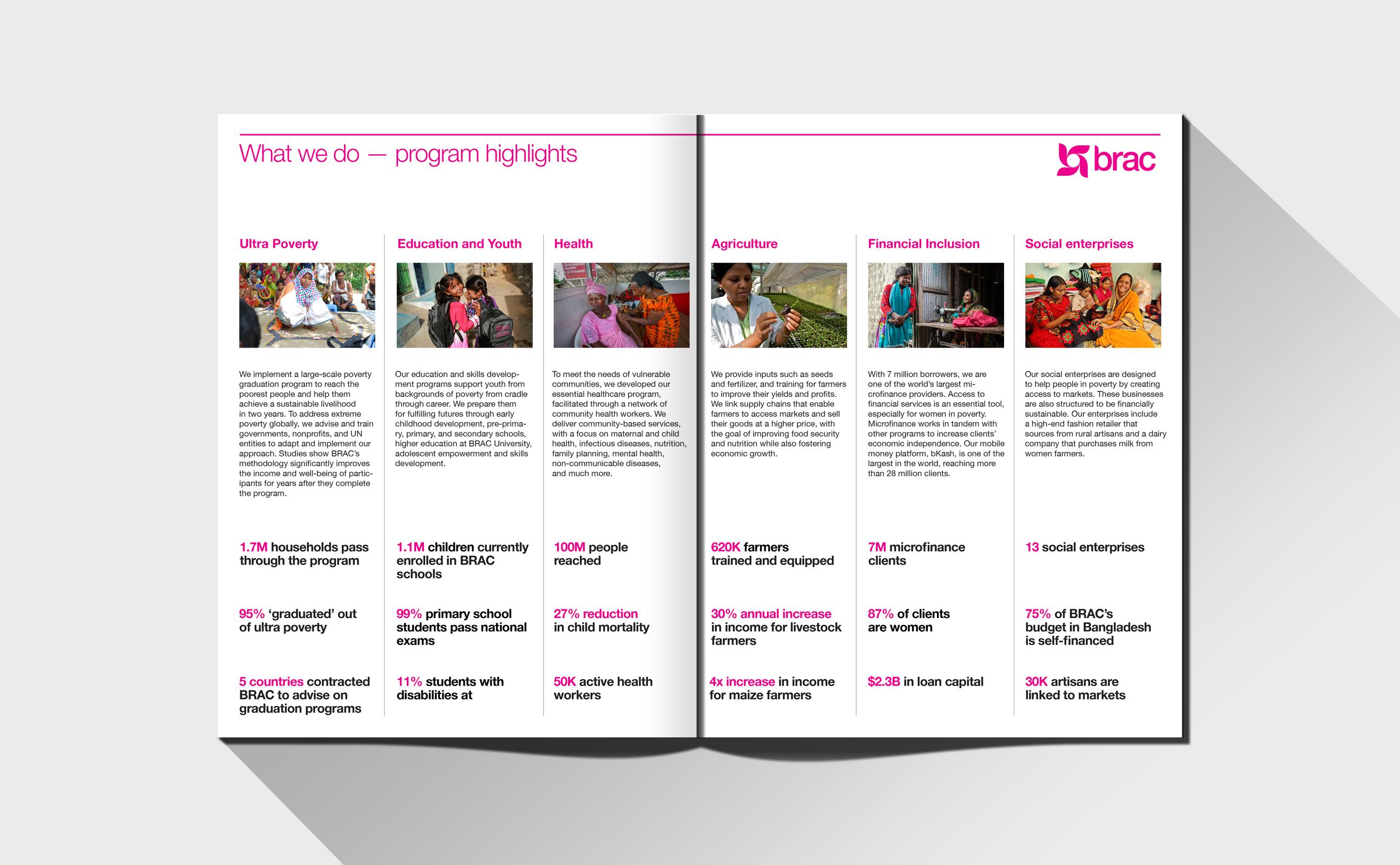 BRAC annual report spread