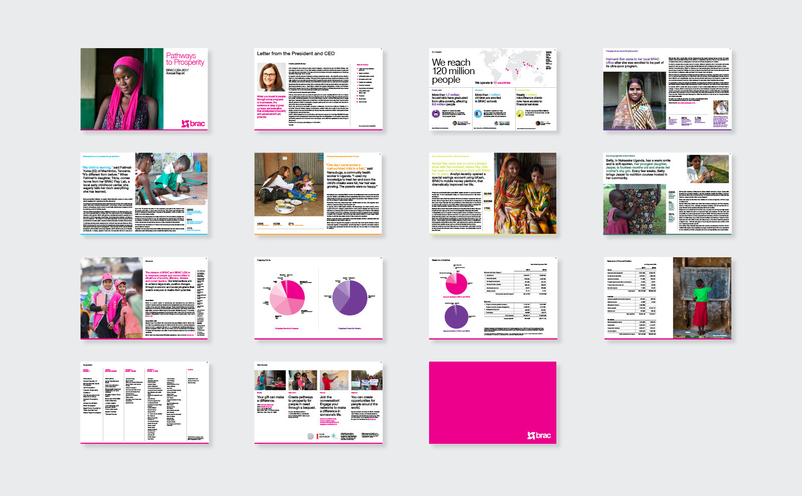 BRAC annual report design spreads