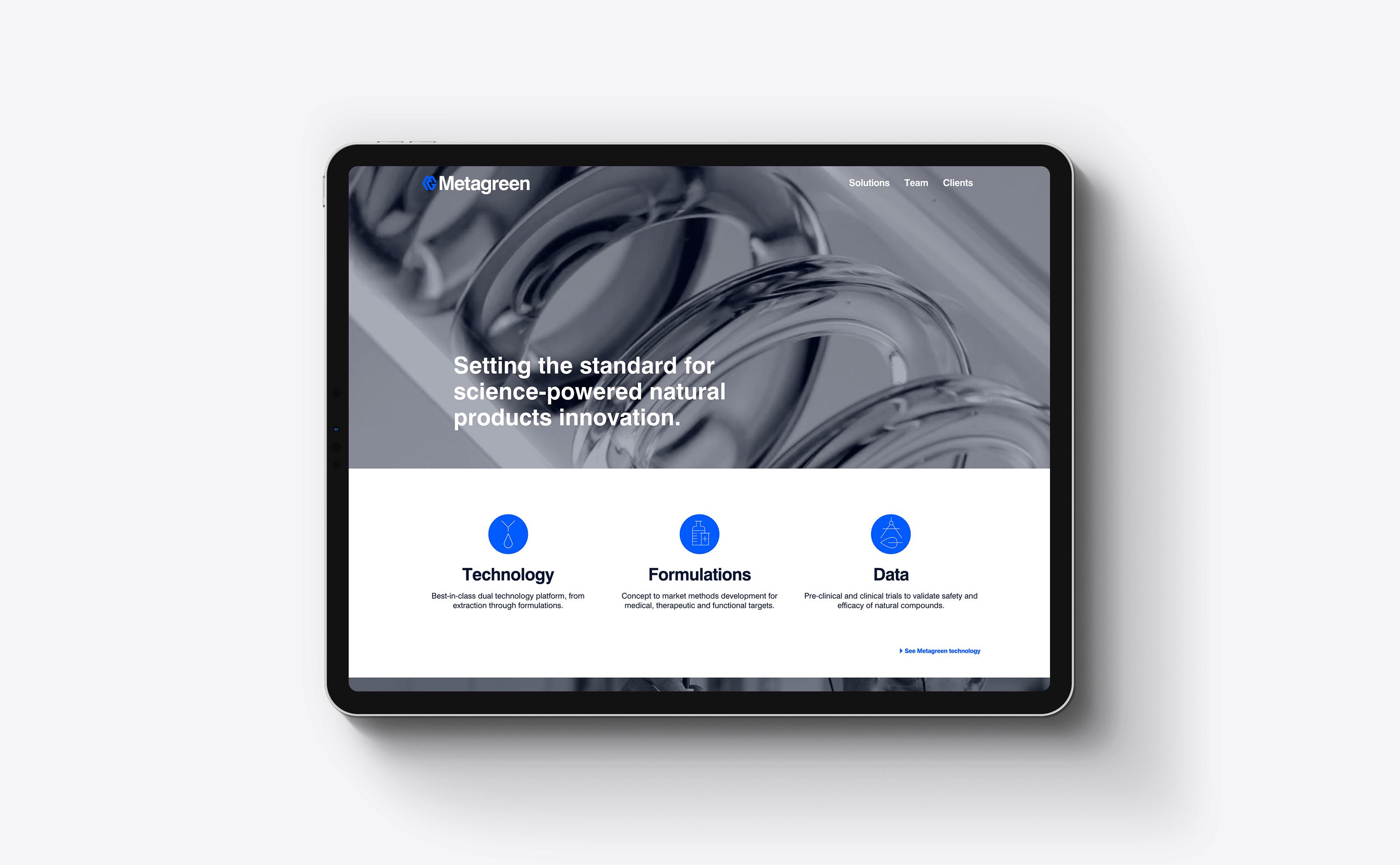 Metagreen Website on ipad