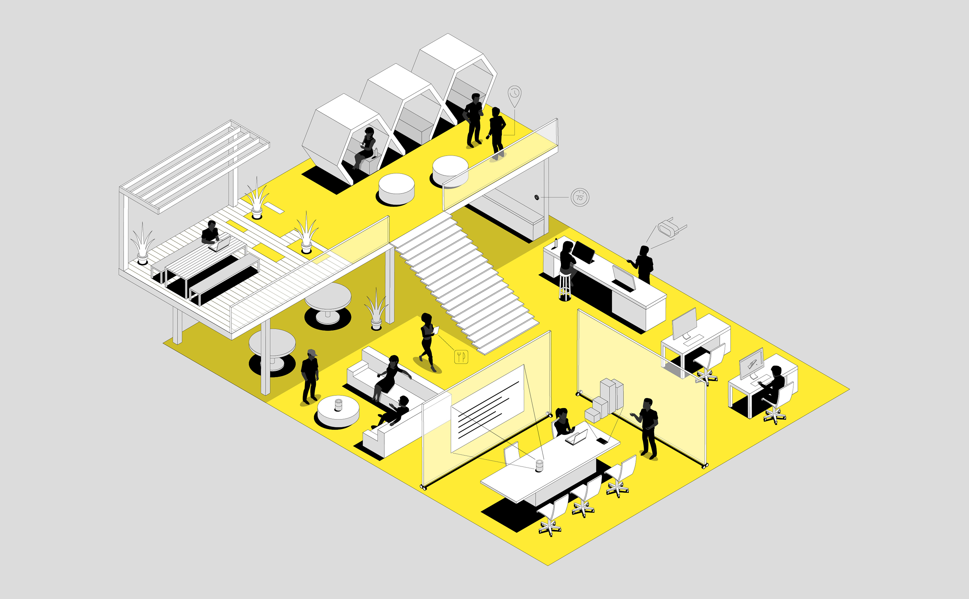 Yellow and Black Office of the future illustration design for Wired and DXC