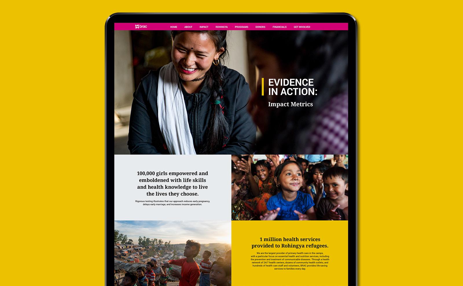 BRAC Annual Report website layout design on yellow