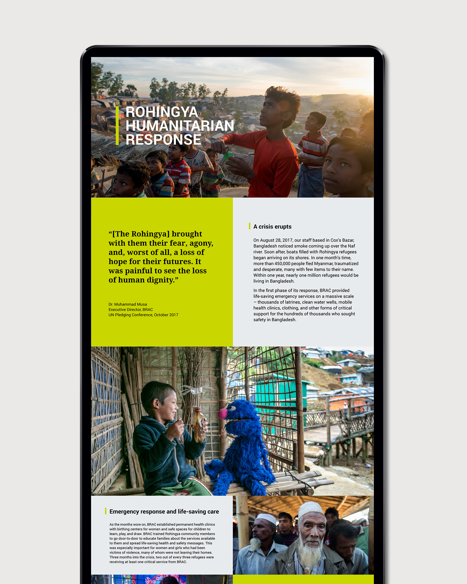 BRAC Annual Report website layout design