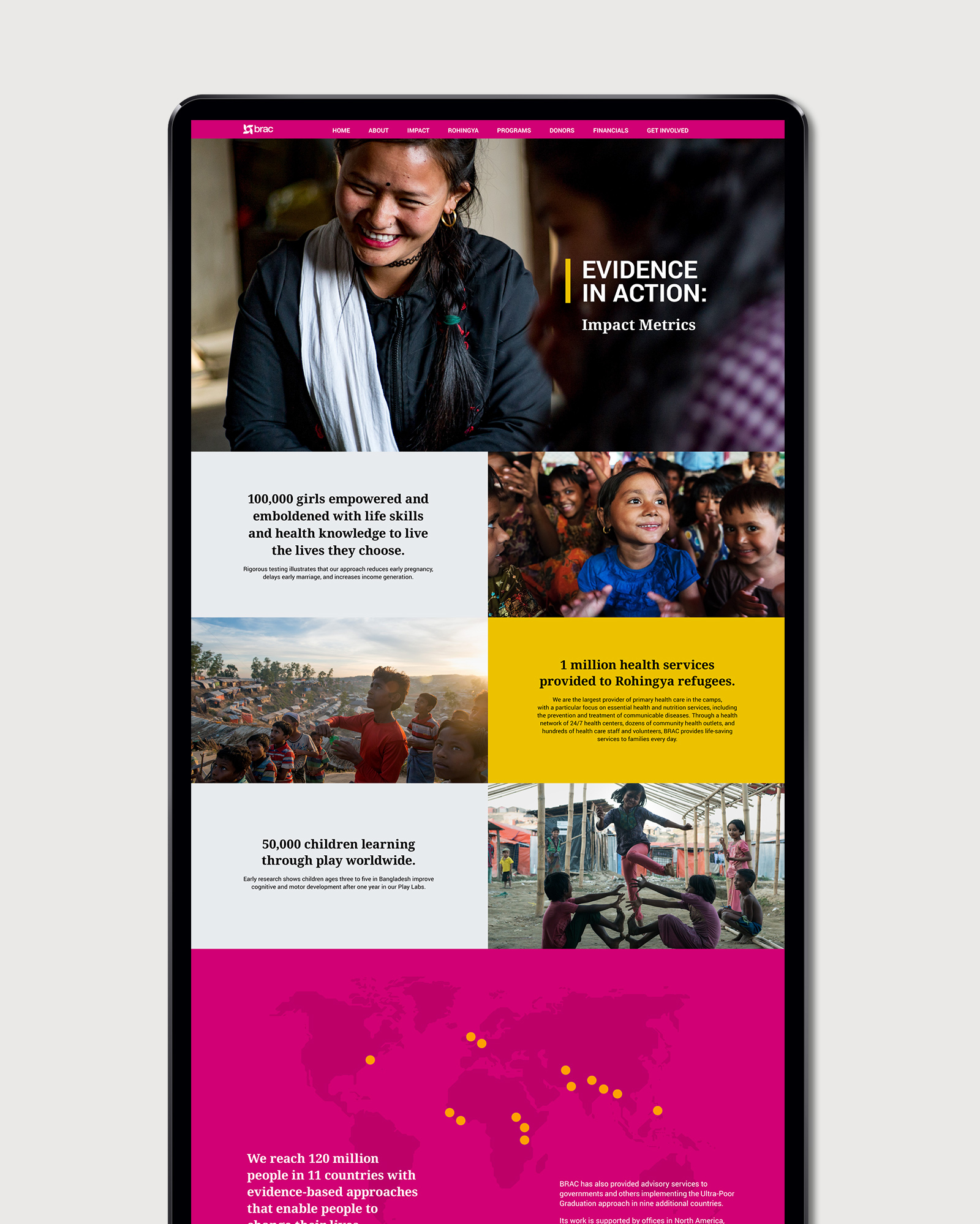 BRAC Annual Report website layout design tall