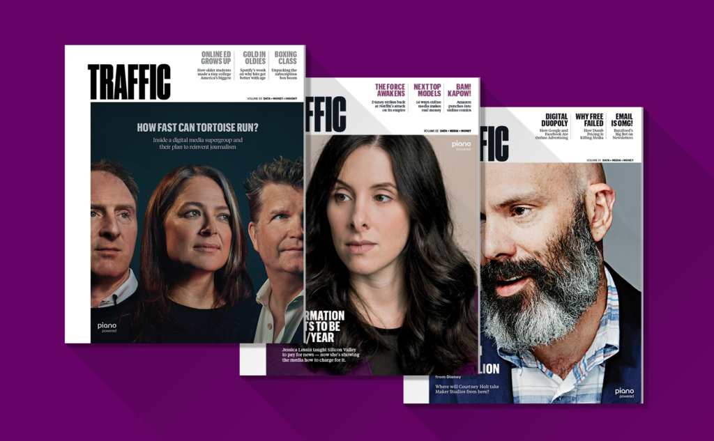 Traffic magazine cover design with leading women and men of the industry