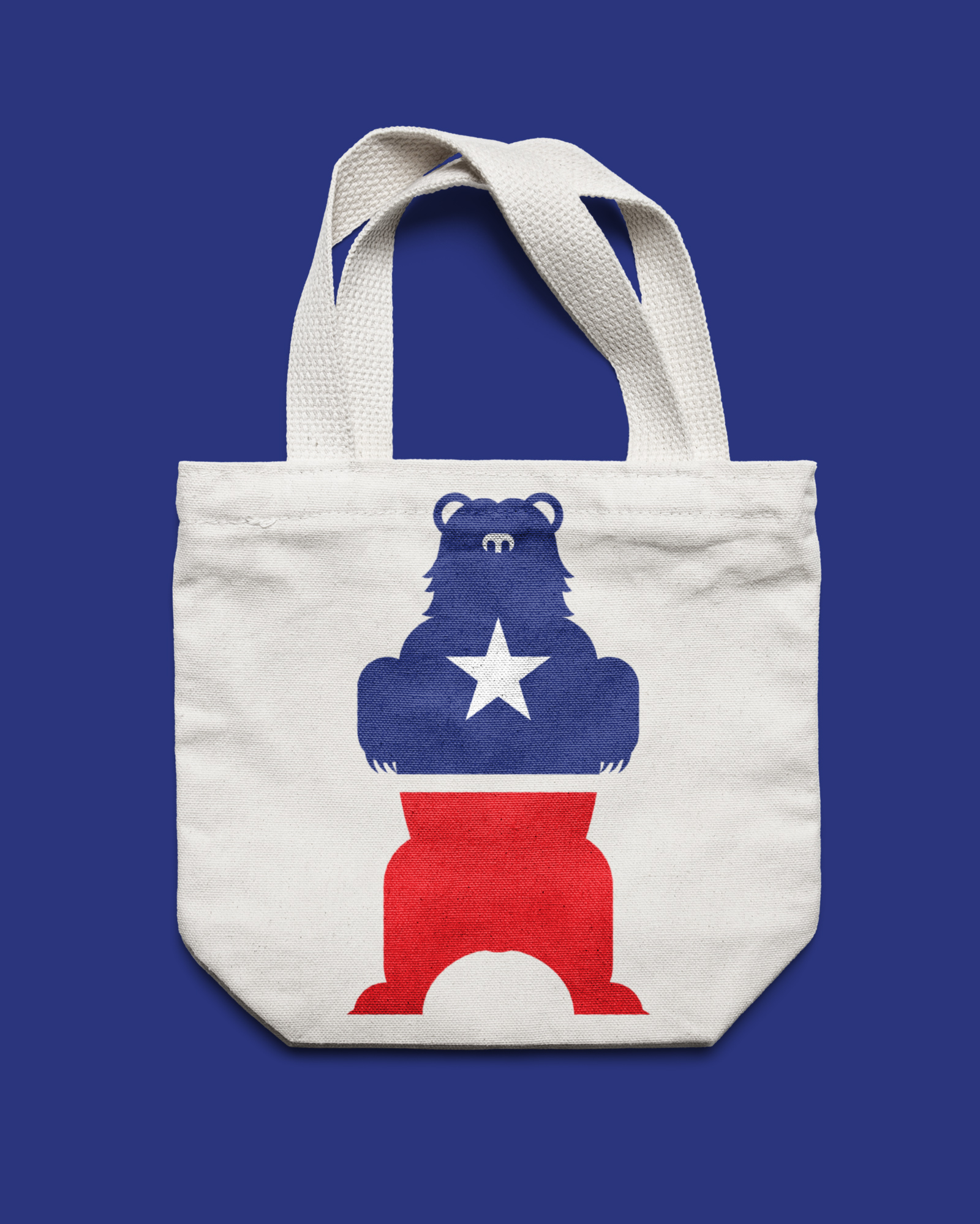 We Need More Party Animals tote bag with a bear on it and blue and red colors