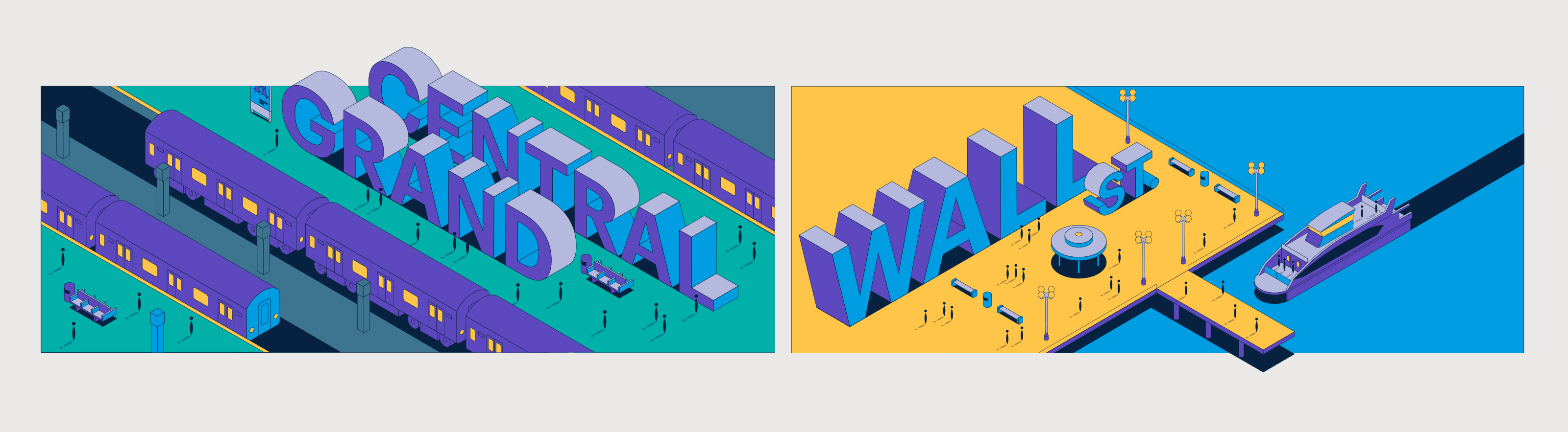United Airlines Grand Central and Wall Street illustration