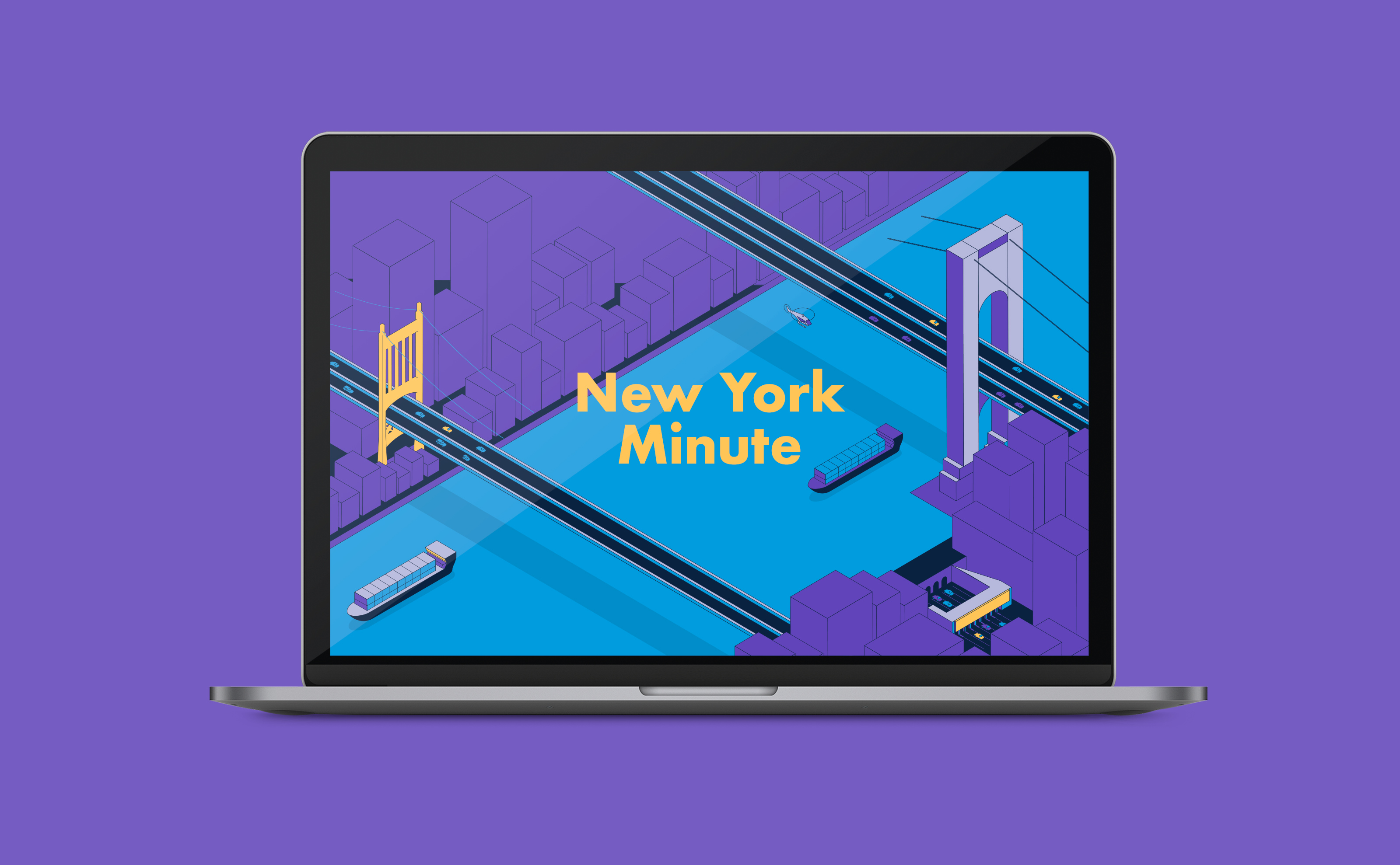 New York Minute illustration for United Airlines and Wall Street Journal on an Apple laptop