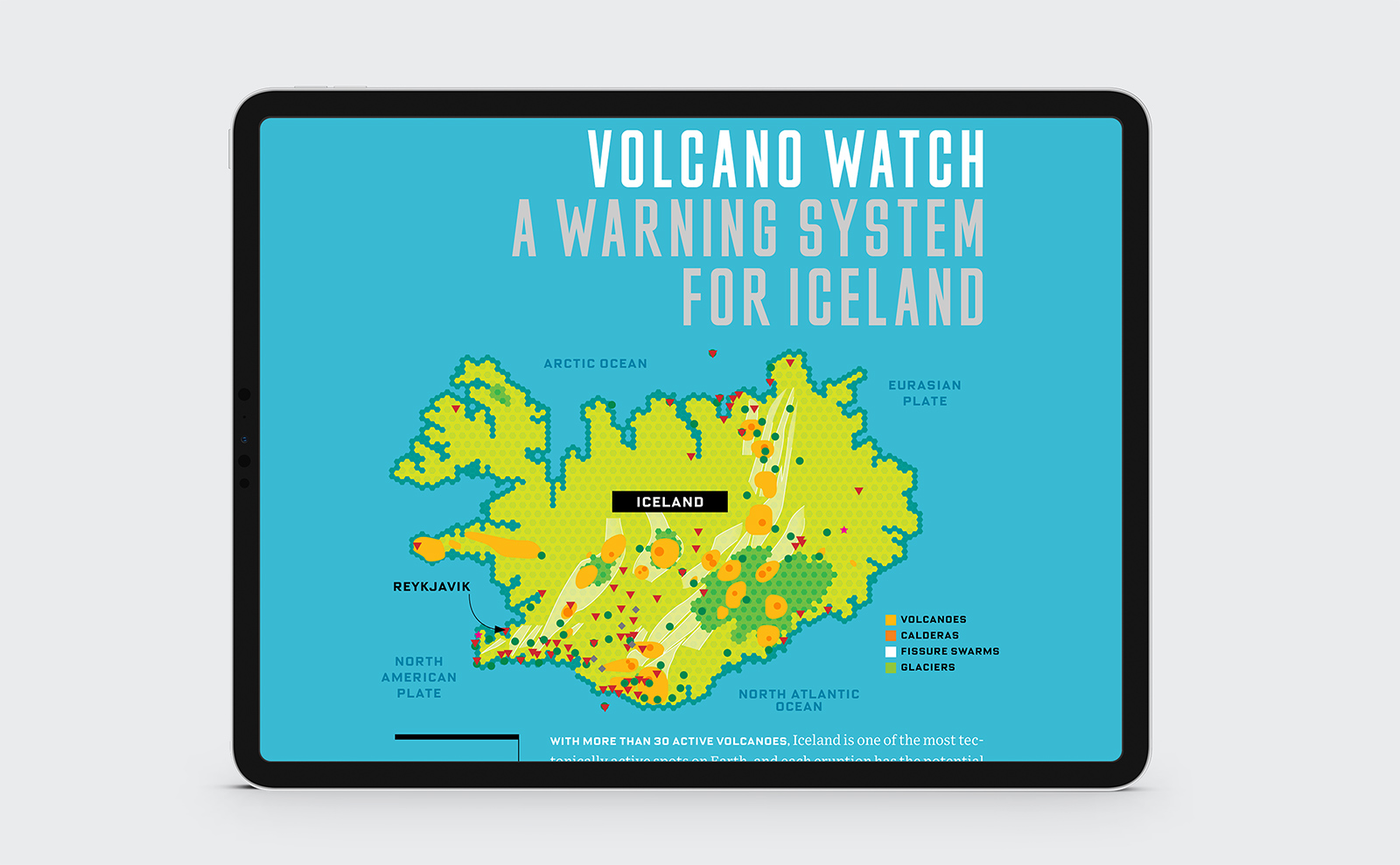 Designed vector map of Iceland showcasing a volcano warning system for Wired magazine